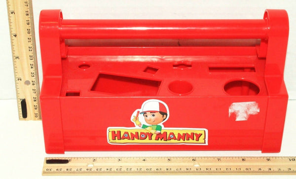 DISNEY HANDY MANNY RED PLASTIC TOY TOOL BOX HOLDS 8 TOOLS USED - MISSING PIECES