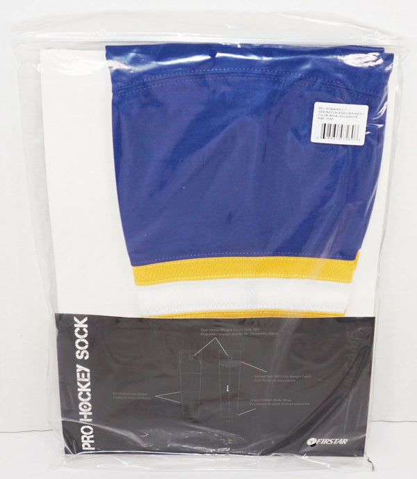 "FIRSTAR 21"" TYKE ICE HOCKEY STADIUM SOCKS PRO DESIGN - BLUE YELLOW WHITE NEW-EZ Monster Deals"