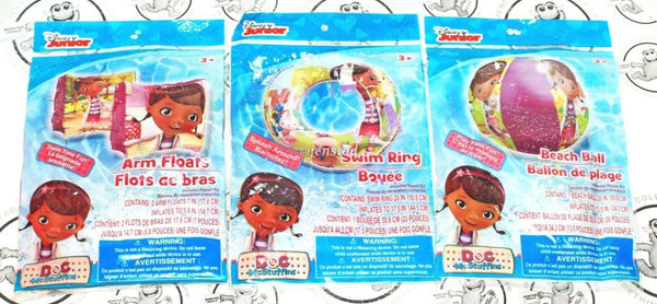 3 LOT - DOC MCSTUFFINS DISNEY JUNIOR SWIM RING ARM FLOATS & BEACH BALL FOR POOL - EZ Monster Deals
