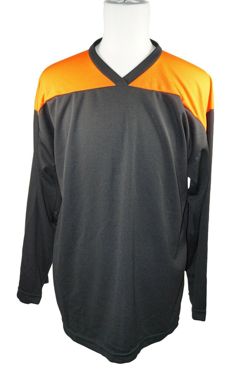 XTREME BASICS SR S HOCKEY BLACK ORANGE JERSEY - ADULT SMALL ICE OR ROLLER USED - EZ Monster Deals