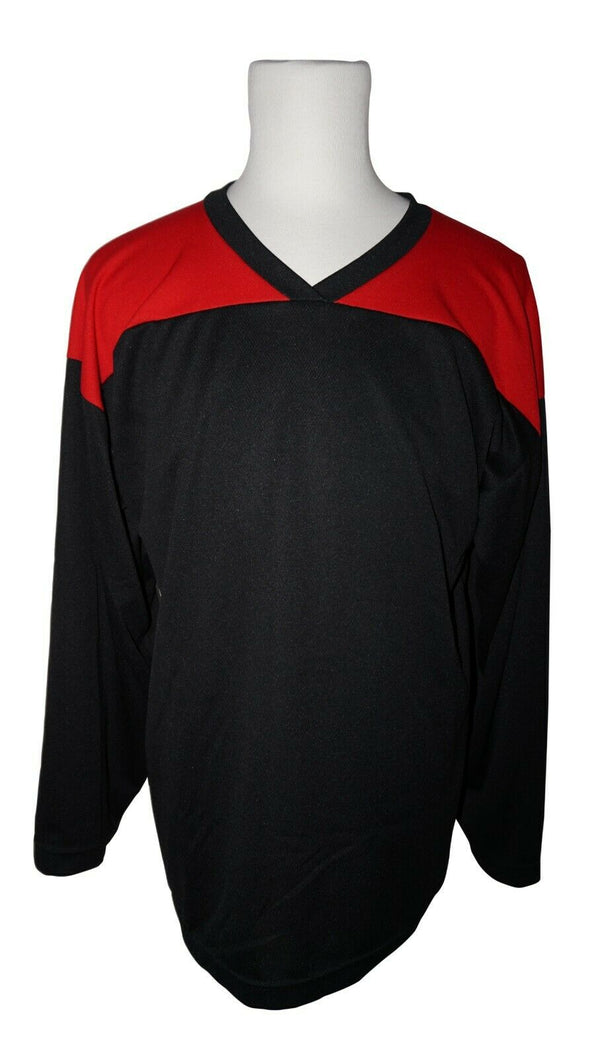 XTREME BASICS SR S HOCKEY BLK RED JERSEY - ADULT SMALL ICE OR ROLLER USED