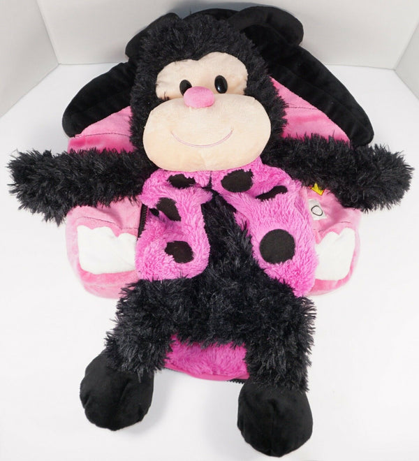 "LADYBUG PINK/BLACK HAPPY NAPPERS 21"" PLUSH TOY - PERFECT PLAY PILLOW USED 2011"