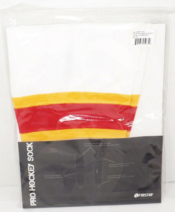 "FIRSTAR 24"" JUNIOR ICE HOCKEY STADIUM SOCKS PRO DESIGN - WHITE YELLOW RED NEW-EZ Monster Deals"