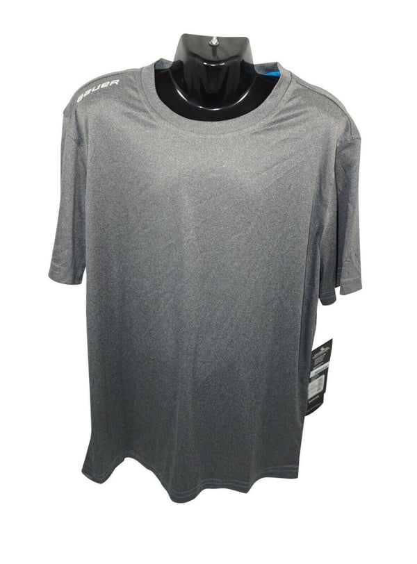 BAUER HOCKEY LOGO'D TEAM TECH TEE - GREY L SHIRT YOUTH KIDS LARGE NEW - EZ Monster Deals