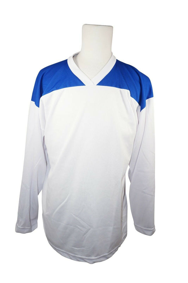 XTREME BASICS SR S BURBANK HOCKEY WHITE BLU JERSEY - ADULT SMALL ICE ROLLER USED