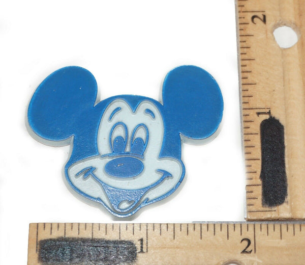 "Vintage Disney Mickey Mouse Head 1.5"" Figure - Mini Blue Magnet 80s/90s"
