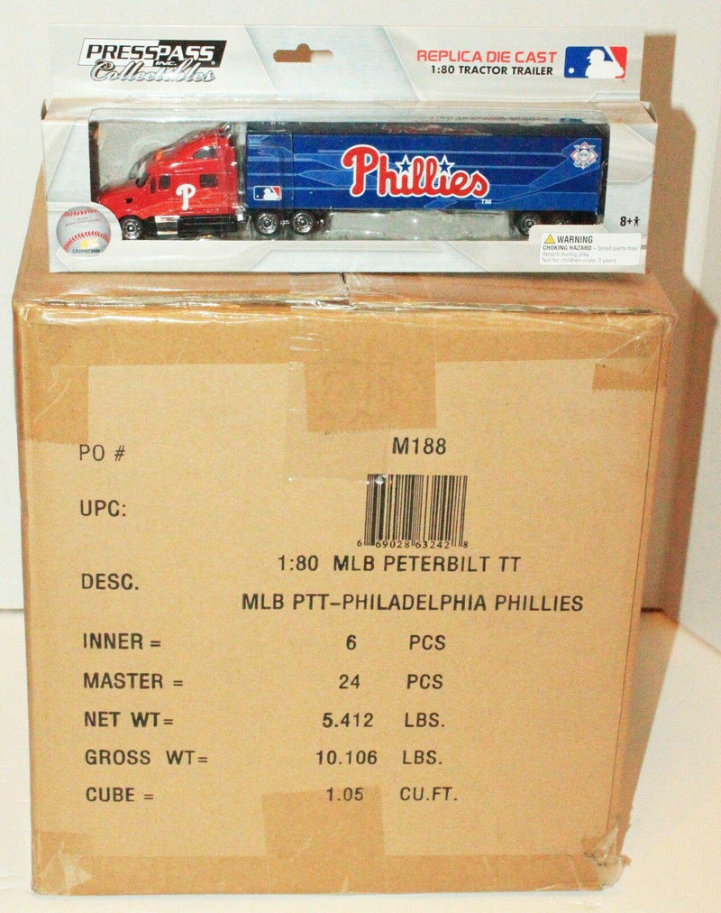24 PCS - CASE - PHILADELPHIA PHILLIES MLB BASEBALL 1:80 TOY DIECAST TRUCK 2012