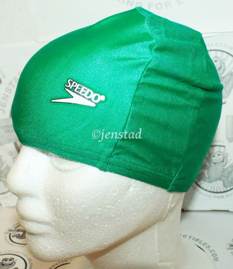 SPEEDO LYCRA SWIM STRETCH CAP KELLY GREEN SWIMMING SUN PROTECTION SWIMWEAR NEW