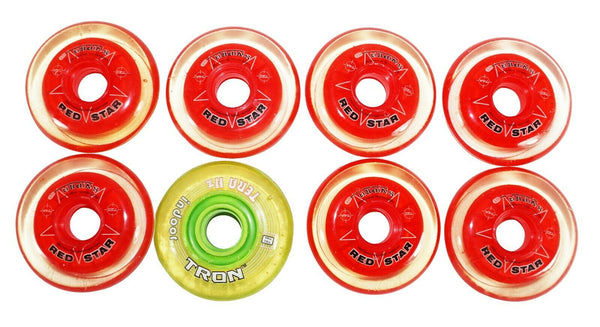 ONE PACK - 7 RED STAR SNIPER 1 TRON INDOOR INLINE ROLLER 72MM 74A HOCKEY WHEELS