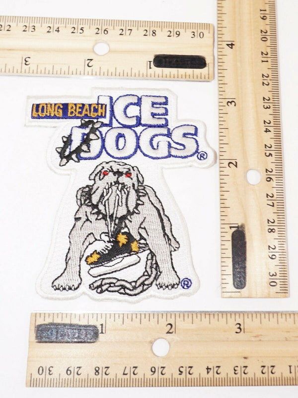 "EMBROIDERED PATCH 3.25"" - LONG BEACH ICE DOGS MINOR LEAGUE HOCKEY USED"
