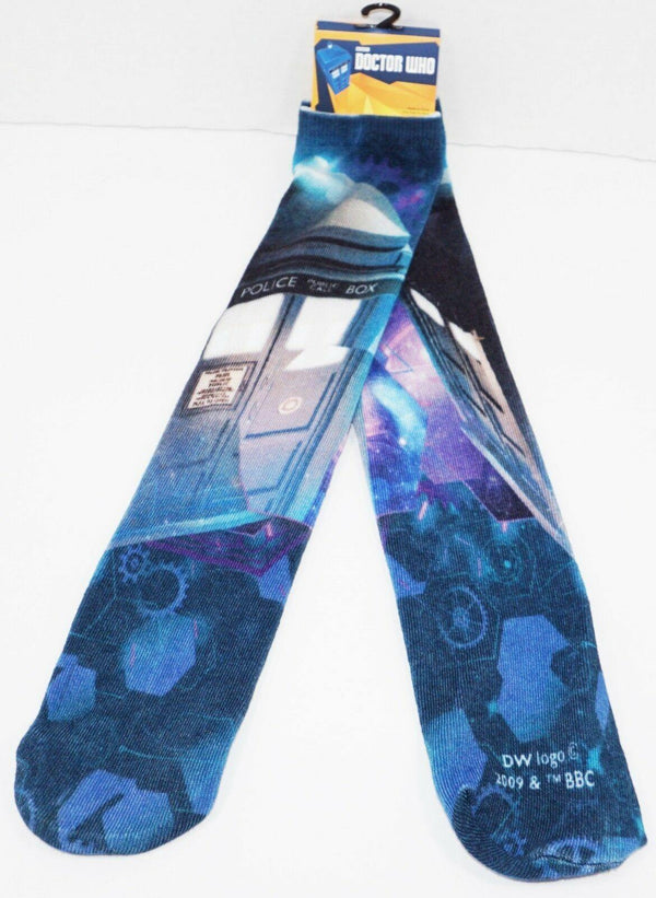 DOCTOR WHO PHONE BOOTH - LONG SOCKS BBC ADULT 6-12 OS STYLE #5 2009 NEW - EZ Monster Deals