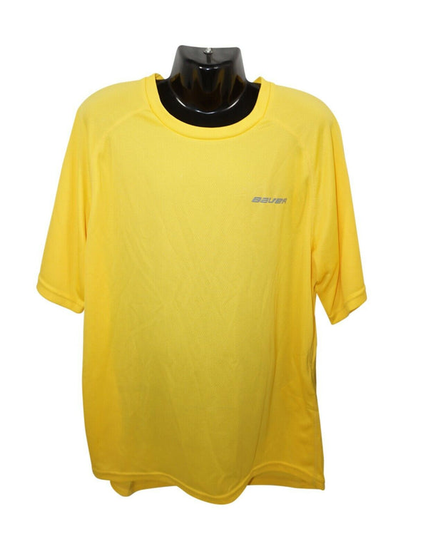 BAUER HOCKEY LOGO TRAINING 37.5 PREMIUM TEE - YELLOW L SHIRT YOUTH KID LARGE NEW - EZ Monster Deals