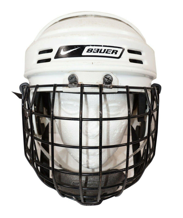 NIKE BAUER 1500 ICE HOCKEY MEDIUM WHITE HELMET + BAUER FM2500 CAGE USED - EZ Monster Deals