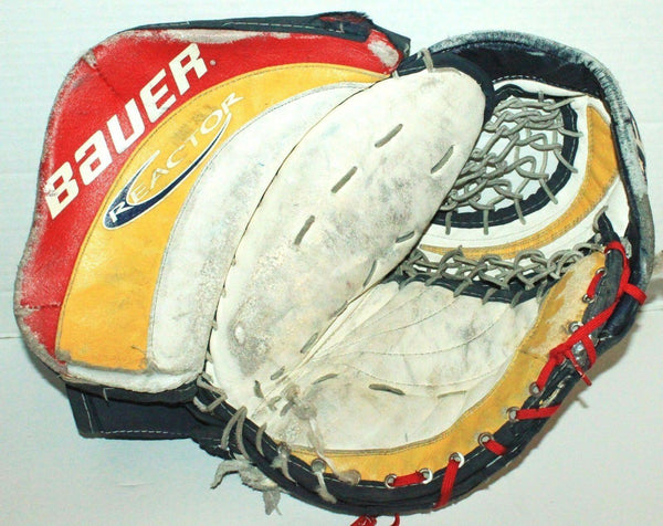 BAUER REACTOR 6 - GOALIE CATCH ICE HOCKEY GOAL GEAR CATCHER GLOVE MITT USED - EZ Monster Deals