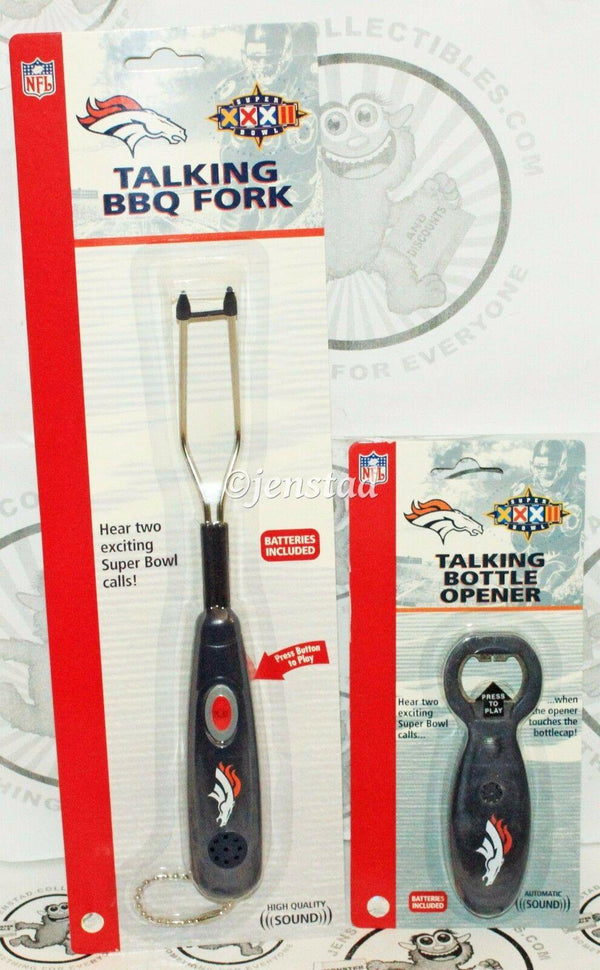 "2 - DENVER BRONCOS NFL FOOTBALL BOTTLE OPENER + BBQ FORK -  ""NO SOUND"" - EZ Monster Deals"