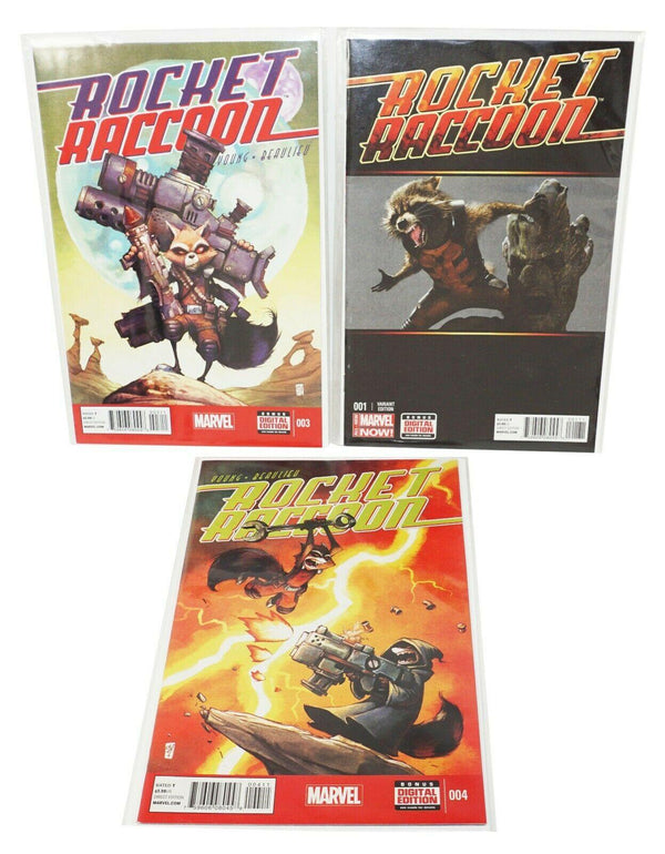 3 LOT - ROCKET RACCOON MARVEL COMIC BOOK VARIANT MOVIE + DIRECT EDITION USED - EZ Monster Deals