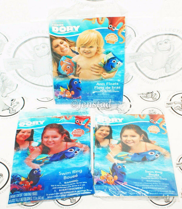 3 PACK LOT - DISNEY PIXAR FINDING DORY W/ NEMO TWO SWIM RING & ARM FLOATS NEW - EZ Monster Deals