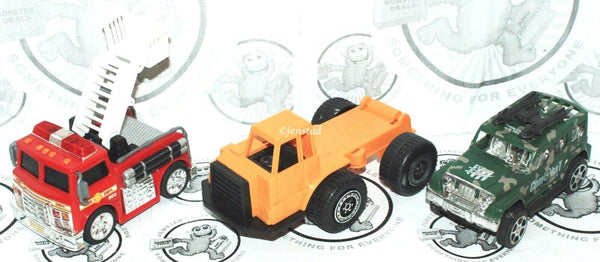 3 LOT - TWO PULL BACK VEHICLES & ONE REGULAR CONSTRUCTION DUMP TRUCK USED - EZ Monster Deals