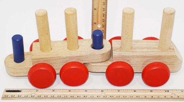 2 PC MELISSA & DOUG - WOODEN STACKING TRAIN KIDS CLASSIC WOOD TOY USED