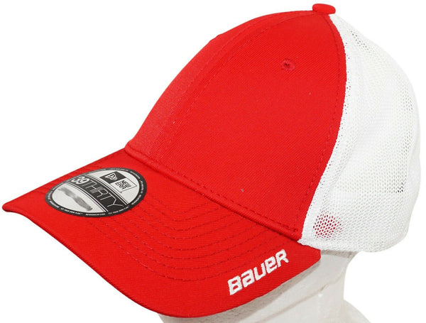 BAUER HOCKEY NEW ERA 39THIRTY ADULT HAT STRETCH MESH RED WHITE MEDIUM LARGE 2015-EZ Monster Deals