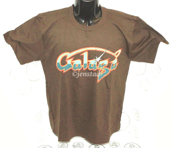 GALAGA MAD ENGINE GRAPHIC TEE XS NAMCO VIDEO GAME BROWN T-SHIRT MEN XSMALL NEW - EZ Monster Deals