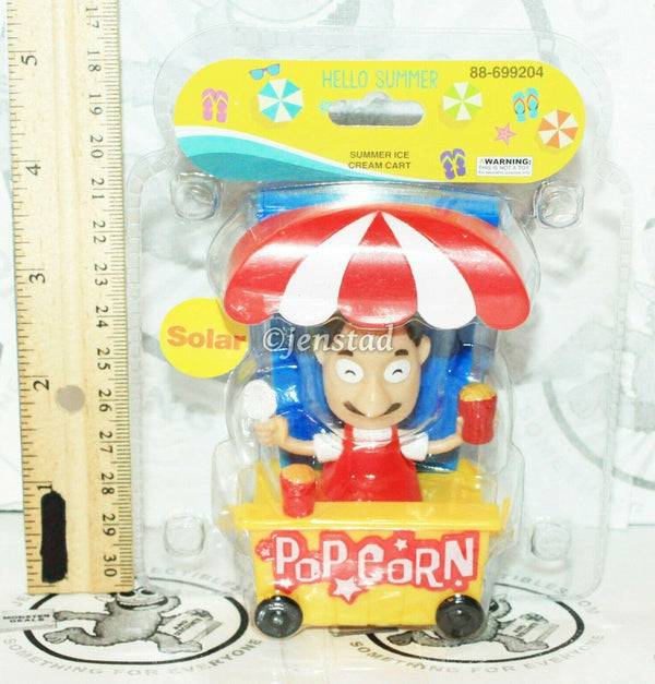 "SOLAR POWER - POPCORN MAN IN TRAIN CART DANCING TOY 4"" FIGURE NEW - EZ Monster Deals"