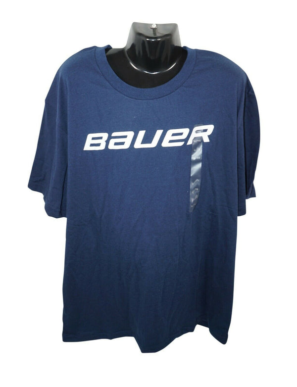BAUER HOCKEY LOGO'D CORE TEE - NAVY BLUE L SHIRT YOUTH KIDS LARGE NEW - EZ Monster Deals
