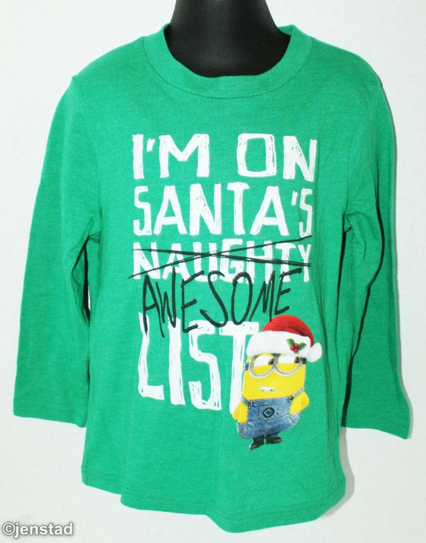 DESPICABLE ME - MINION I'M ON SANTA'S AWESOME LIST KIDS SMALL 4 LONG SHIRT 2015 - EZ Monster Deals