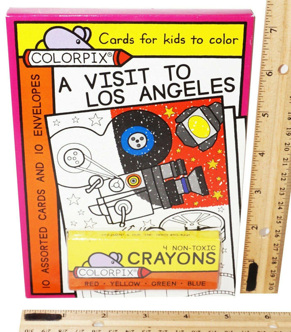 A VISIT TO LOS ANGELES - 4 CRAYONS + 10 COLOR-PIX CARDS + 10 ENVELOPES NEW 2008 - EZ Monster Deals