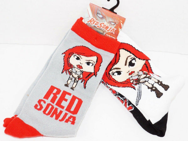 2 PC RED SONJA ADULT CREW SOCKS 6-12 - COMIC BOOK CHARACTER NEW STYLE#2 - EZ Monster Deals