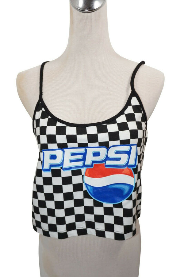 Pepsi Soda Cola Large Crop Top Tee - Sleeveless String Short Cami Tank L Shirt