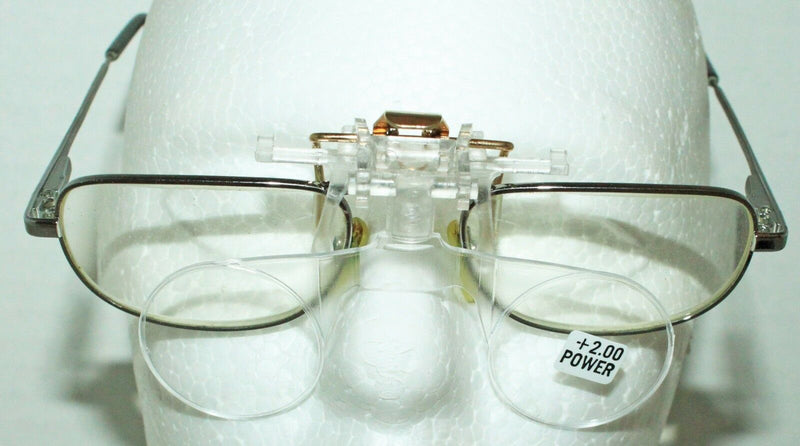 SUNRAMS OPTICAL SMALL CLIP-ON MAGNIFYING READING GLASSES +2.00 DIOPTER READER - EZ Monster Deals