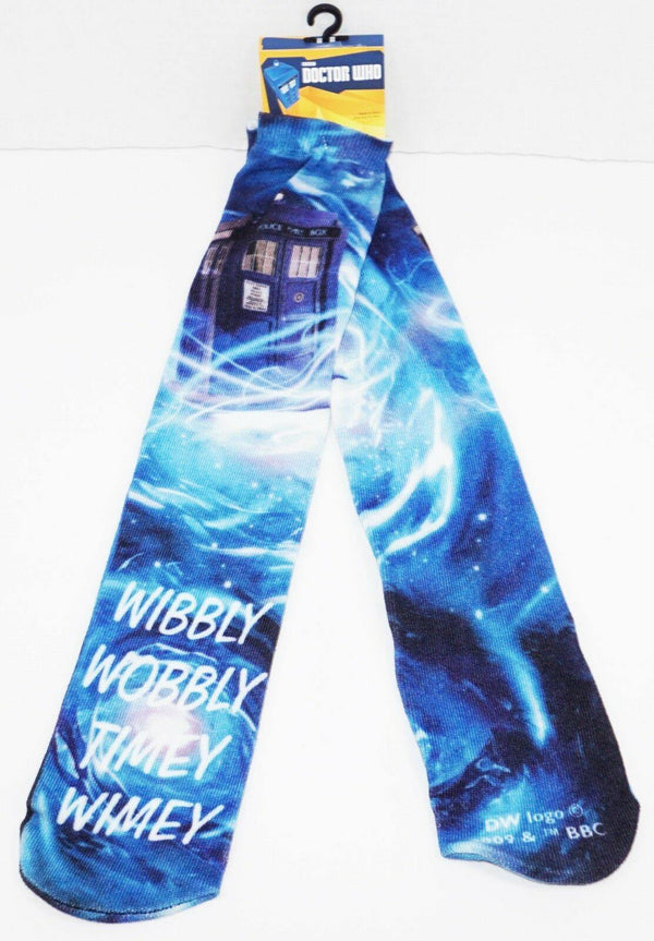 DOCTOR WHO PHONE BOOTH WIBBLY WOBBLY LONG SOCKS BBC ADULT 6-12 OS STYLE #6 2009 - EZ Monster Deals