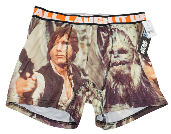 STAR WARS CHEWBACCA HAN SOLO MENS UNDERWEAR SMALL - BOXER BRIEF S BLACK NEW - EZ Monster Deals