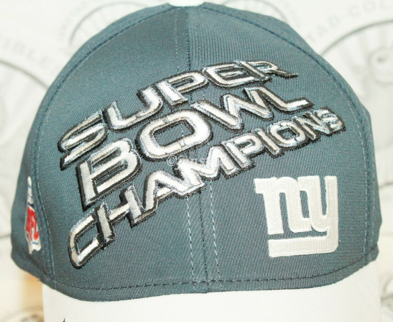 NY NEW YORK GIANTS ON FIELD REEBOK NFL SUPER BOWL CHAMPIONS XLVI GREY HAT 2011