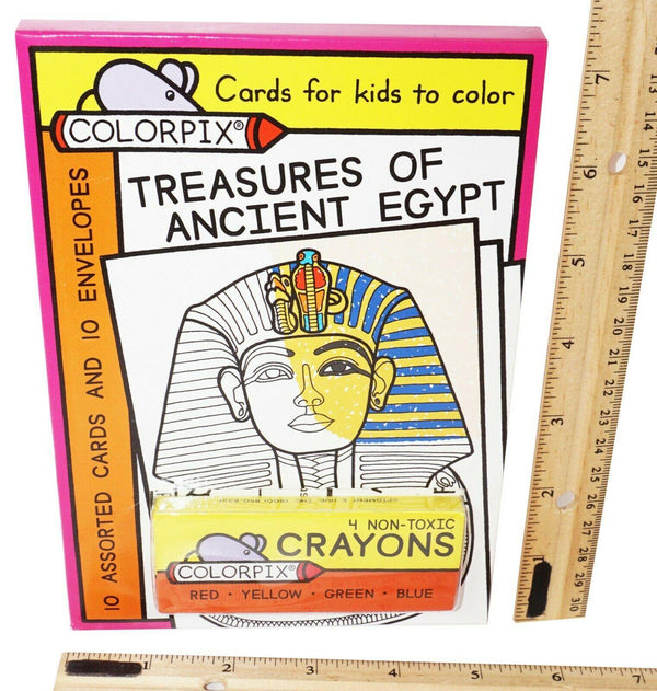 TREASURES OF ANCIENT EGYPT - 4 CRAYONS + 10 COLORPIX CARDS + 10 ENVELOPES 2010 - EZ Monster Deals