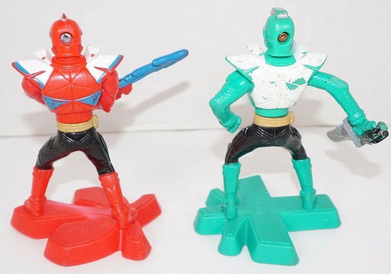 2 LOT - RED & GREEN POWER RANGERS SUPER SAMURAI MCDONALDS TOY FIGURES USED 2012