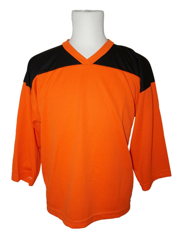 XTREME BASICS YTH L HOCKEY ORANGE BLACK JERSEY - YOUTH LARGE ICE ROLLER USED - EZ Monster Deals