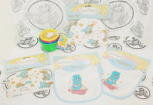 5 LOT -  CARE BEARS BIB W/ CAP & SESAME STREET STACKING COLOR 4 CUP TOY GAME NEW