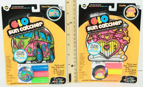 "2 LOT - CASTLE + PEACE BUS GLO STAIN 4"" SUNCATCHER NEON COLORS GLOW IN DARK 2010 - EZ Monster Deals"
