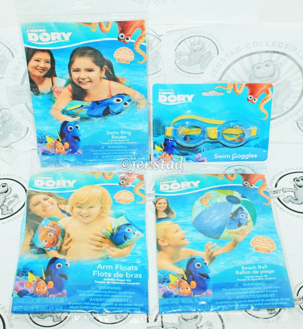 4 PACK LOT - DISNEY FINDING DORY W/ NEMO SWIM RING ARM FLOATS BEACH BALL GOGGLES