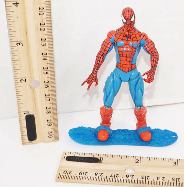 "SPIDERMAN MARVEL COMICS ON SURFBOARD OR WAVE RIDER SPIDEY 3.75"" TOY FIGURE USED - EZ Monster Deals"