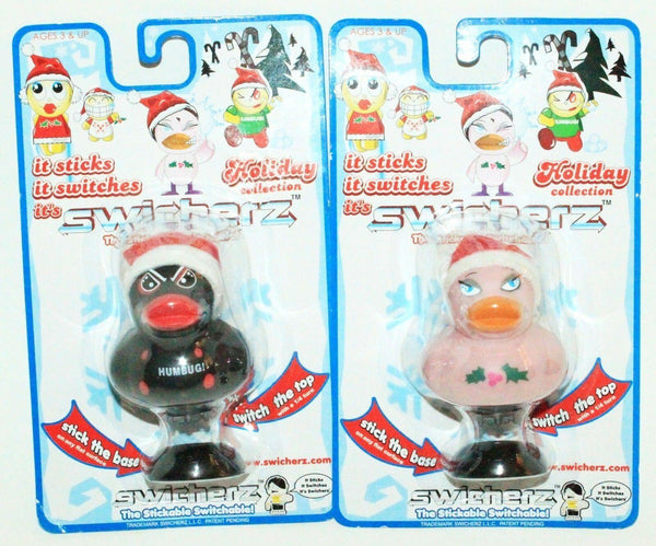 "2 LOT - SWITCHERZ TOY VINYL 2.5"" PINK BLACK & DUCK FIGURE STICK'EM + SWITCH 2005 - EZ Monster Deals"
