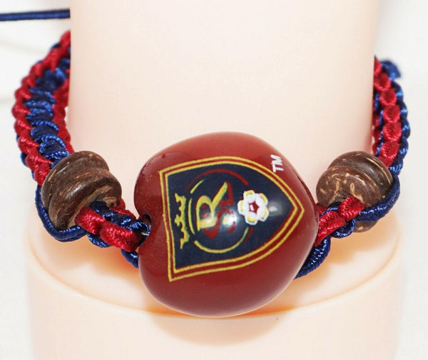 REAL SALT LAKE MLS - SINGLE KUKUI NUT + MACRAME BRAID BRACELET SOCCER FUTBOL NEW - EZ Monster Deals