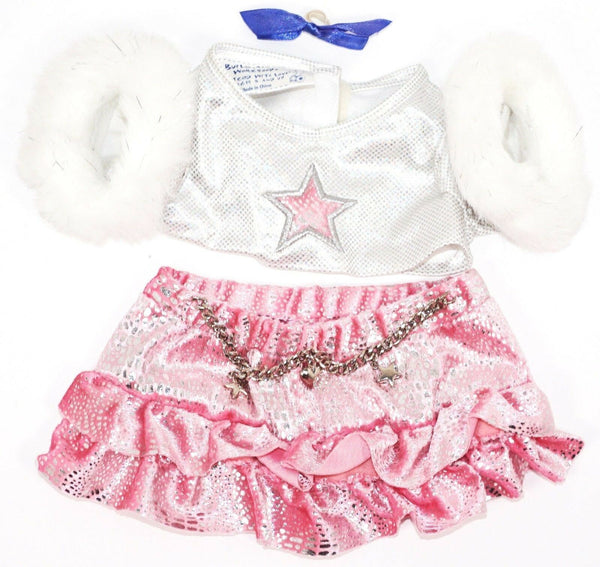 BABW FURRY PINK SILVER ACCESSORY CLOTHING ITEM BUILD A BEAR WORKSHOP OUTFIT USED-EZ Monster Deals