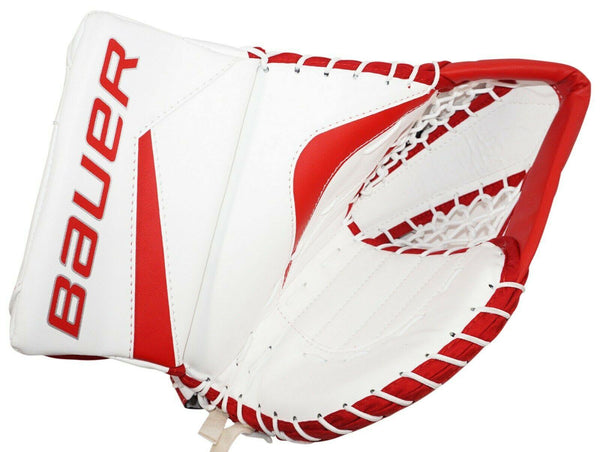 BAUER REACTOR 5000 SR - GOALIE GLOVE MITT SENIOR GOAL ICE HOCKEY WHITE/RED 2015 - EZ Monster Deals