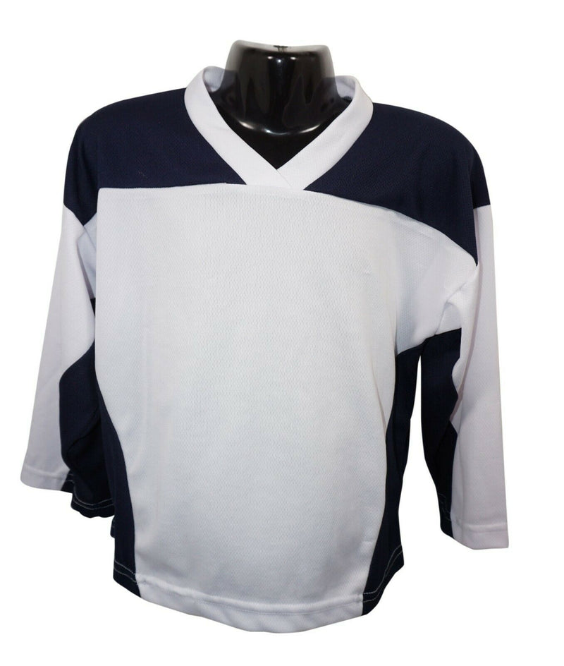 XTREME BASICS YTH XS HOCKEY WHITE BLUE JERSEY - YOUTH XSMALL ICE ROLLER USED - EZ Monster Deals