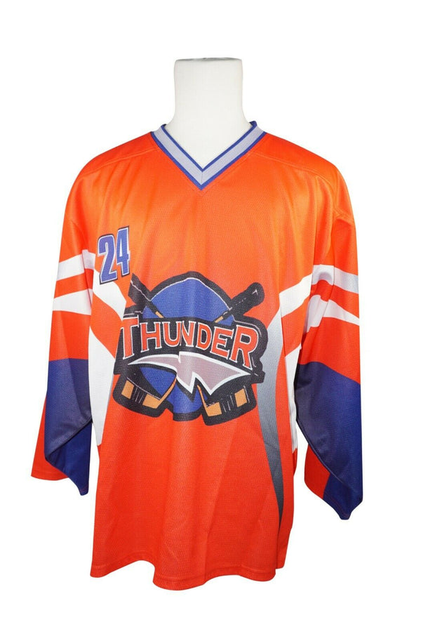 SR S HOCKEY ORG BLU GRY WHT THUNDER JERSEY #24 - ADULT SMALL ICE ROLLER USED - EZ Monster Deals