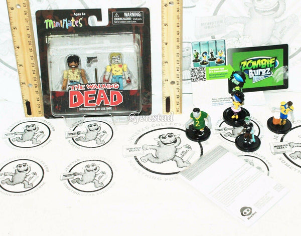 "2 LOT MINIMATES WALKING DEAD TOY 2.5"" FIGURE SURVIVOR MORGAN GEEK & ZOMBIE BURBZ - EZ Monster Deals"