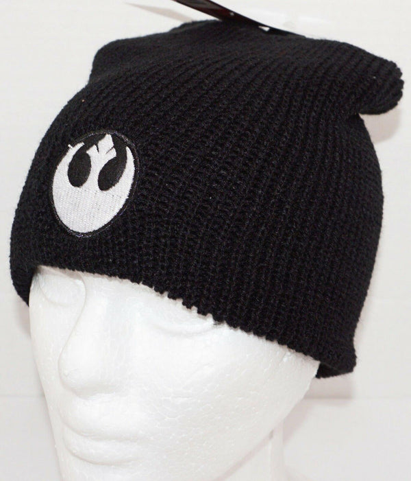 REBEL ALLIANCE LOGO -  DISNEY STAR WARS WINTER KNIT BLACK BEANIE CAP UNCUFF NEW - EZ Monster Deals